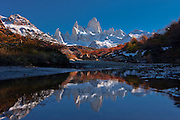 Mt. Fitzroy reflected in a mountain pool in the Andes Mountains of Patagonia, Argentina, South America