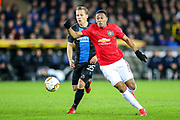Manchester United forward Anthony Martial (9) beats Club Brugge midfielder Ruud Vormer (25) during the Europa League match between Club Brugge and Manchester United at Jan Breydel Stadion, Brugge, Belguim on 20 February 2020.