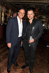 Left to right, ARUN NAYAR and GERRY DE VEAUX at the 50th birthday party for Patrick Cox held at the Café Royal Hotel, 68 Regent Street, London on 15th March 2013.