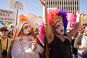 15 NOVEMBER 2008 -- PHOENIX, AZ: Members of the Sisters of Perpetual Indulgence at a gay rights protest in Phoenix, AZ. About 1,500 people, gay and straight, participated in a rally at the Phoenix, AZ, city hall to protest the passage of Proposition 102 in Arizona and Proposition 8 in California on November 4. In both states the propositions essentially defined marriage as between a man and woman and banned same sex marriages. The protest in Phoenix was one of several held across the United States Saturday. Photo by Jack Kurtz / ZUMA Press