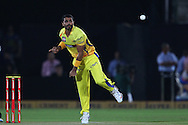 Ravindra Jadeja of Chennai Super Kings  during the first semi-final match of the Karbonn Smart Champions League T20 (CLT20) 2013  between The Rajasthan Royals and the Chennai Superkings held at the Sawai Mansingh Stadium in Jaipur on the 4th October 2013<br /> <br /> Photo by Ron Gaunt-CLT20-SPORTZPICS<br /> <br /> Use of this image is subject to the terms and conditions as outlined by the CLT20. These terms can be found by following this link:<br /> <br /> http://sportzpics.photoshelter.com/image/I0000NmDchxxGVv4