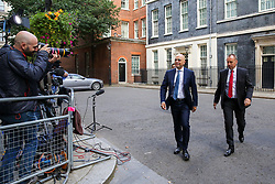 © Licensed to London News Pictures. 03/009/2019. London, UK. Chancellor of The Exchequer SAJID JAVID (L) leaves No 11 Downing Street. MPs return to Westminster for a no deal  showdown that could result in a snap election. Photo credit: Dinendra Haria/LNP