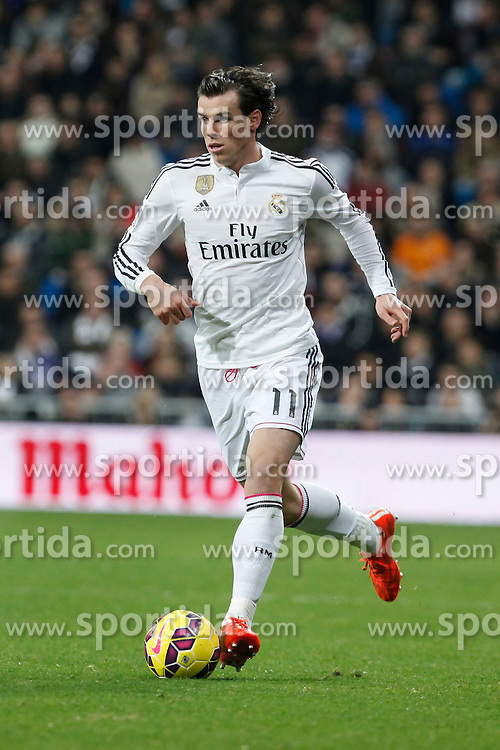 14.02.2015, Estadio Santiago Bernabeu, Madrid, ESP, Primera Division, Real Madrid vs Deportivo La Coruna, 23. Runde, im Bild Real Madrid&acute;s Gareth Bale // during the Spanish Primera Division 23rd round match between Real Madrid vs Deportivo La Coruna at the Estadio Santiago Bernabeu in Madrid, Spain on 2015/02/14. EXPA Pictures &copy; 2015, PhotoCredit: EXPA/ Alterphotos/ Victor Blanco<br /> <br /> *****ATTENTION - OUT of ESP, SUI*****