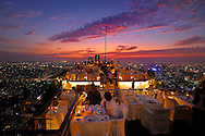 View over Bangkok with Restaurant Vertigo Grill at Banyan Tree Hotel, The Leading Hotels of the World, City, Bangkok, Thailand