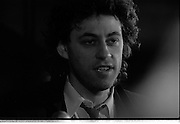Bob Geldof Receives F.A.O.Medal..1986..16.10.1986..10.16.1986..16th October 1986..The highlight of Gorta's 21st anniversary World Food Day was the presentation of an F.A.O.(Food and Agriculture Organisation of the United Nations) to Bob Geldof. The medal was presented by An Taoiseach,Dr Garret Fitzgerald. The medal was in recognition of Bob's efforts and contribution towards famine relief in the Third World. The ceremony took place in The Berkeley Court Hotel in Dublin...Image is of a close up of Bob as he meets with the media assembled in the hotel foyer.