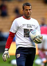 Luke Steele of Bristol City wears a shirt in support of Wolverhampton Wanderers goalkeeper Carl Ikeme fighting against Acute Leukaemia - Mandatory by-line: Robbie Stephenson/JMP - 12/09/2017 - FOOTBALL - Molineux - Wolverhampton, England - Wolverhampton Wanderers v Bristol City - Sky Bet Championship