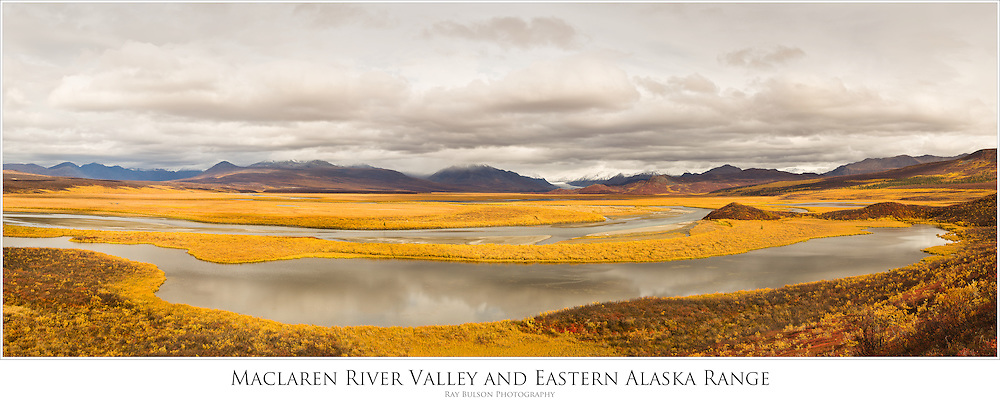 Composite panorama of Maclaren River Valley, Clearwater Mountains, and the eastern Alaska Range mountains in late fall in Interior Alaska. Morning.