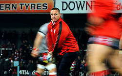 Gloucester Rugby head coach Johan Ackermann leads the warm up session - Mandatory by-line: Nizaam Jones/JMP - 22/02/2019 - RUGBY - Kingsholm - Gloucester, England- Gloucester Rugby v Saracens - Gallagher Premiership Rugby