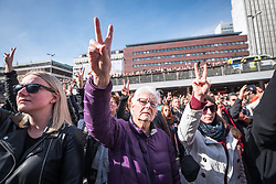 9 April 2017, Stockholm, Sweden: Two days after a lorry was driven into a store in central Stockholm, killing at least four people and injuring many more, a peaceful demonstration for love was held at Sergels torg in central Stockholm, to commemorate the victims of violence, and to join hands for a non-violent future.