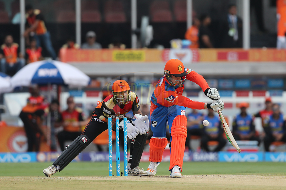 Jason Roy of the Gujarat Lions plays down the leg side during match 6 of the Vivo 2017 Indian Premier League between the Sunrisers Hyderabad and the Gujarat Lions held at the Rajiv Gandhi International Cricket Stadium in Hyderabad, India on the 9th April 2017<br /> <br /> Photo by Ron Gaunt - IPL - Sportzpics