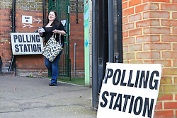 © Licensed to London News Pictures. 23/05/2019. London, UK. A voter leaves at a polling station in Haringey, north London after casting a vote in the European Parliament elections. Photo credit: Dinendra Haria/LNP
