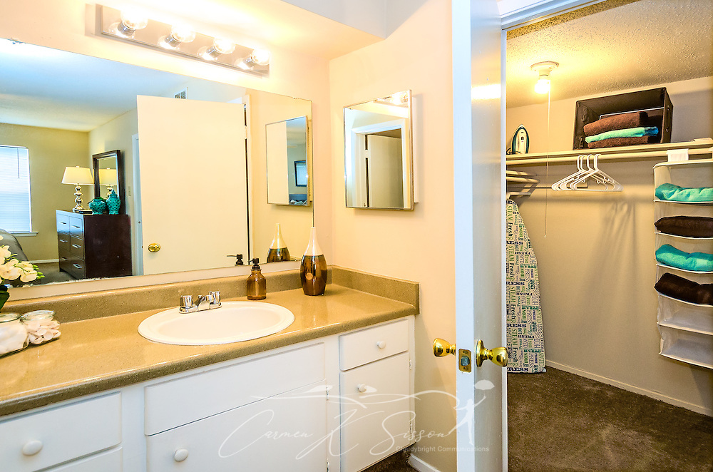 A bathroom and walk-in closet is shown at Robinwood Apartments, June 11, 2015, in Mobile, Alabama. The one-bedroom apartments, located on Old Shell Road, are managed by Sealy Realty. (Photo by Carmen K. Sisson/Cloudybright)