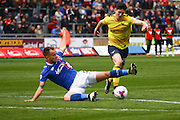 Carlisle United Defender Danny Grainger challenging  Oxford midfielder Callum O'Dowda during the Sky Bet League 2 match between Carlisle United and Oxford United at Brunton Park, Carlisle, England on 30 April 2016. Photo by Craig McAllister.