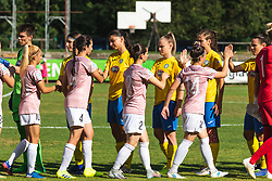 Players of both teams shaking hands before football match between ZNK Pomurje and FC Nike in 2nd Round of UWCL qualifying 2019/20, on Avgust 10, 2019 in Sportni Park Beltinci, Beltinci, Slovenia. Photo by Blaž Weindorfer / Sportida