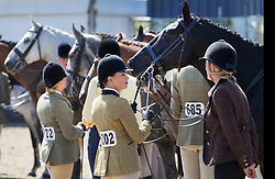 © Licensed to London News Pictures. 10/05/2017. Windsor, UK. Riders wait for judging in the Small Hunter competition category on the first day of the Royal Windsor Horse Show. The five day equestrian event takes place in the grounds of Windsor Castle. Photo credit: Peter Macdiarmid/LNP