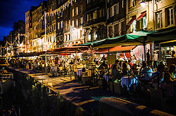 Restaurants in the harbour area in Honfleur, France