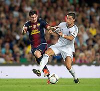FUSSBALL  INTERNATIONAL  PRIMERA DIVISION  SAISON 2011/2012   23.08.2012 El Clasico  Super Cup 2012 FC Barcelona - Real Madrid  Cristiano Ronaldo (re, Real Madrid) gegen Lionel Messi (Barca)