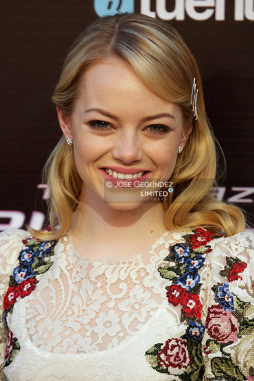Actress Emma Stone attend the premiere of 'The Amazing Spider-Man' at Callao Cinema in Madrid