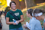 19089Campus fall...Danielle Dooley(green) and Angela DelBrocco