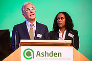 Cabeólica: Cape Verde island leads the way in wind power. Richard Parry, Board Member and Ana Monteiro, Head of Environment, Social and Administrative Department<br />  speaking at the Ashden conference, 2013. Royal Society, central London.