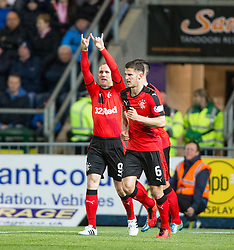 Rangers Kenny Miller cele scoring their first goal. <br /> Falkirk 3 v 2 Rangers, Scottish Championship game player at The Falkirk Stadium, 18/3/2016.