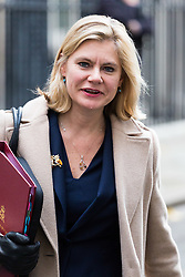 London, November 22 2017. Education Secretary Justine Greening leaves the UK cabinet meeting on budget day at Downing Street. © Paul Davey