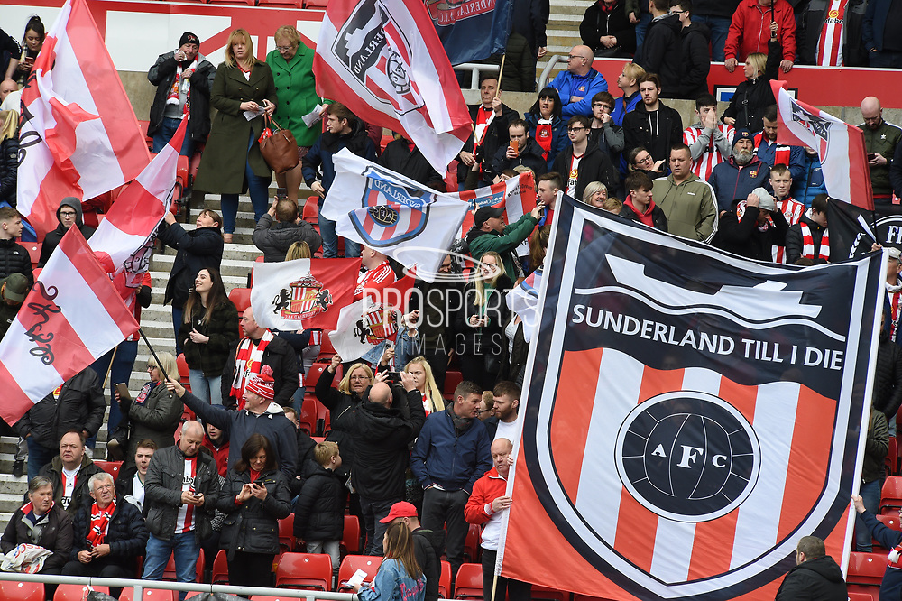 Sunderland fans during the EFL Sky Bet League 1 match between Sunderland and Portsmouth at the Stadium Of Light, Sunderland, England on 27 April 2019.