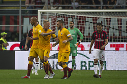 September 1, 2018 - Milan, Italy - Serie A football, AC Milan versus AS Roma; Rick Karsdorp and Daniele De Rossi celebrate the first goal of Federico Fazio of AS Roma (Credit Image: © Gaetano Piazzolla/Pacific Press via ZUMA Wire)