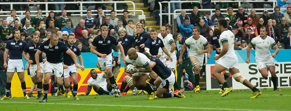 South Africa #14. JP Pietersen drives over to score South Africa's try late in the first half.  South Africa v Scotland, 3rd October 2015