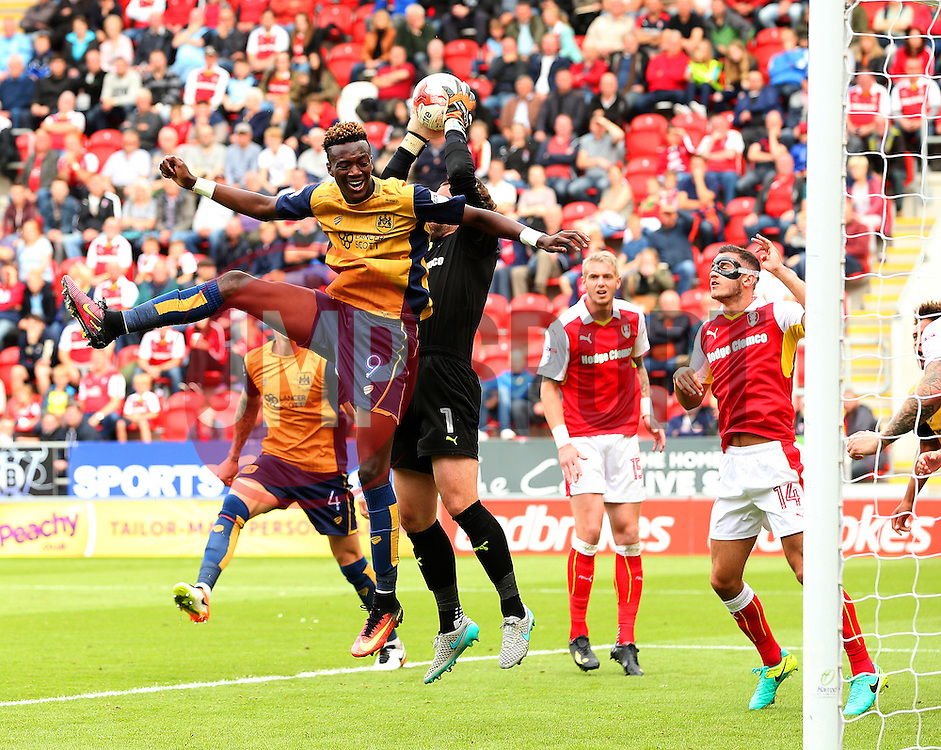 Tammy Abraham of Bristol City challenges Lee Camp of Rotherham United  - Mandatory by-line: Matt McNulty/JMP - 10/09/2016 - FOOTBALL - Aesseal New York Stadium - Rotherham, England - Rotherham United v Bristol City - Sky Bet Championship
