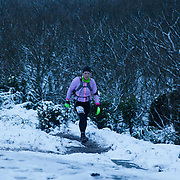 The sun is setting and the rest of the run has to done in the dark and head torches are mandatory. Salomon Hammer Trail Winter Edition is a first on Bornholm and is one of the toughest routes in Denmark. The 4 runs consist of a 50 mile run, a marathon, a 1/2 marathon and 10k all run a on an approximate 25km route which includes 860 meter vertical rise on the North East coast of the Danish island Bornholm. The cut-off time for the 50mile run was 16 hours and more than a hundred runners made it to the finishing line. The last runner across the line after 50 miles  was in after 15:14:40