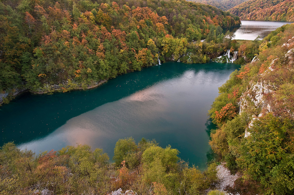 Early morning in the Milanovac lake, Upper Lakes, Plitvice National Park, Croatia