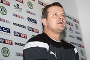 Forest Green Rovers manager, Mark Cooper talking about new signing Farrend Rawson signs for Forest Green Rovers at the New Lawn, Forest Green, United Kingdom on 4 January 2018. Photo by Shane Healey.