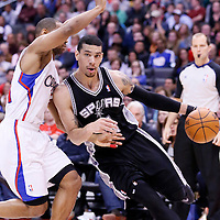 18 February 2014: San Antonio Spurs shooting guard Danny Green (4) drives past Los Angeles Clippers shooting guard Willie Green (34) during the San Antonio Spurs 113-103 victory over the Los Angeles Clippers at the Staples Center, Los Angeles, California, USA.