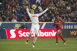 March 1, 2018 - Harrison, New Jersey, United States - New York Red Bulls midfielder ALEX MUYL (19) traps the ball in front of goal during the CONCACAF Champions league match at Red Bull Arena in Harrison, NJ.  NY Red Bulls defeat CD Olimpia 2-0  (Credit Image: © Mark Smith via ZUMA Wire)