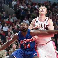 30 October 2010: Chicago Bulls Brian Scalabrine vies for a rebound with Detroit Pistons Jason Maxiell during the Chicago Bulls 101-91 victory over the Detroit Pistons at the United Center, in Chicago, Illinois, USA. ****** NORTH & SOUTH AMERICA SALES ONLY ----- NO AGENTS ----- NORTH & SOUTH AMERICA SALES ONLY ******