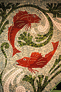 France. Paris. 6th district. fish ceramic. cafe Fish / 69, rue de Seine 75006       /    / Poissons.  mosaïque Café Fish  / 69, rue de Seine 75006