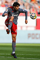 MOSCOW, RUSSIA - MAY 05: Vedran Corluka of FC Lokomotiv Moscow in action during the Russian Football League match between FC Lokomotiv Moscow and FC Zenit Saint Petersburg at RZD Arena on May 5, 2018 in Moscow, Russia.