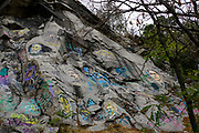 Graffiti painted on a rock. Plovdiv, Bulgaria