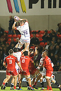 Laurence Pearce catches clean ball during the European Rugby Challenge Cup match between Sale Sharks and Toulouse at the AJ Bell Stadium, Eccles, United Kingdom on 13 October 2017. Photo by George Franks.
