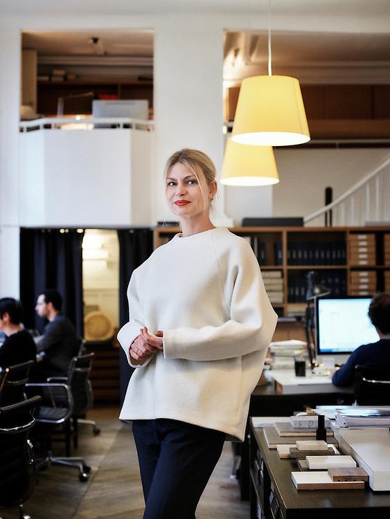 Paris, France. January 11, 2015. Frauke Meyer, the artistic director of the Christian Laigre studio, posing in the studio. Photo: Antoine Doyen
