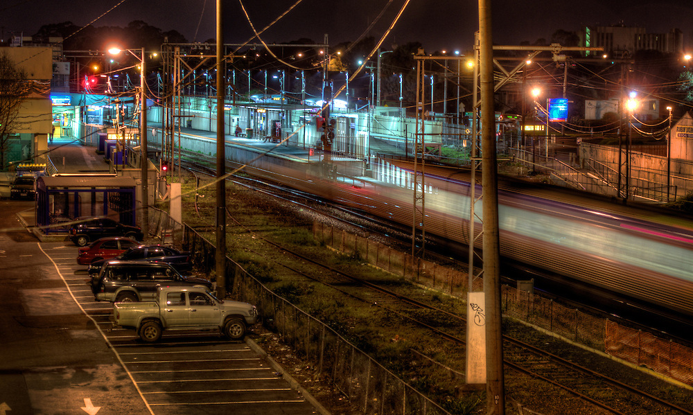 Railway Stations at night. About 8pm, Broadmeadows railway station and car park, an outbound train approaches the station blurred by a four second exposure. Pic By Craig Sillitoe CSZ/The Sunday Age The Age iPad App This photograph can be used for non commercial uses with attribution. Credit: Craig Sillitoe Photography / http://www.csillitoe.com<br />