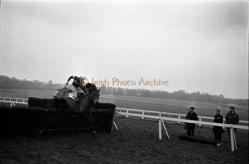 "16/01/1963<br /> 01/16/1963<br /> 16 January 1963<br /> Leopardstown Races at Leopardstown Race track, Dublin. A.H. watt's ""Dance  On"" (7), ridden by J.J. Rafferty clearing the last hurdle in front of Mrs J.A. McAllister's ""Jungle Trix"" (F. Carroll up) in the Ticknock Handicap Hurdle Races. ""Dance ON"" went on to win the race."
