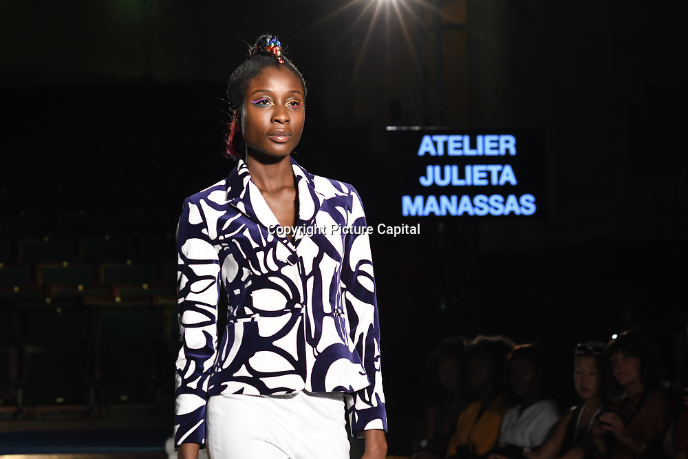 Designer Atelier Julieta Manassas showcases its latest collection at the Africa Fashion Week London (AFWL) at Freemasons' Hall on 11 August 2018, London, UK.