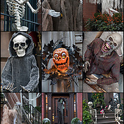 Nine images of Halloween Skeleton  decorations on side of brownstones in Greenwich Village, NYC.