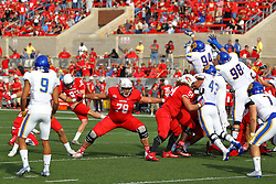 29 October 2016: Alec Diab provides protection for extra point kicker Sean Slattery.  NCAA FCS Football game between South Dakota State Jackrabbits and Illinois State Redbirds at Hancock Stadium in Normal IL (Photo by Alan Look)
