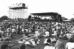 The Grateful Dead perform at Colt Park Hartford CT on 2 August 1976. View before the show shot on Tri-X B&W film.