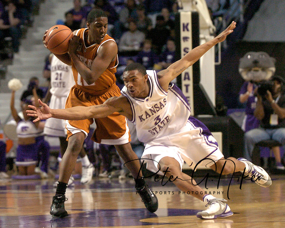 Kansas State's Lance Harris (3) reaches in for a steal against Kenton Paulino of Texas, during the second half at Bramlage Coliseum in Manhattan, Kansas, February 22, 2006.  The 7th ranked Longhorns held on for a 65-64 win over K-State.