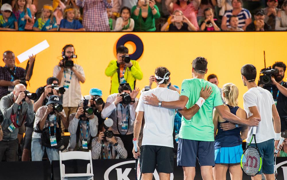 Daria Gavrilova, Roger Federer, Milos Raonic and Novak Djokovic at Kids Day on Rod Laver Arena ahead of the 2017 Australian Open at Melbourne Park on January 14, 2017 in Melbourne, Australia.<br /> (Ben Solomon/Tennis Australia)
