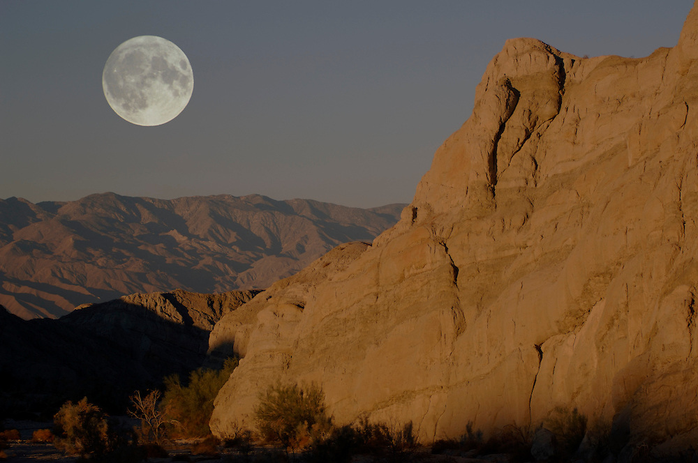 Full moon over Box Canyon near Mecca, Salton Sea, California, United States of America